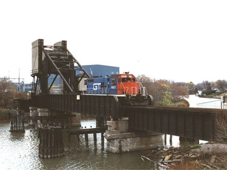 GTW 4601 Crossing Black River Upper Bridge At Port Huron Going To Paper Mill